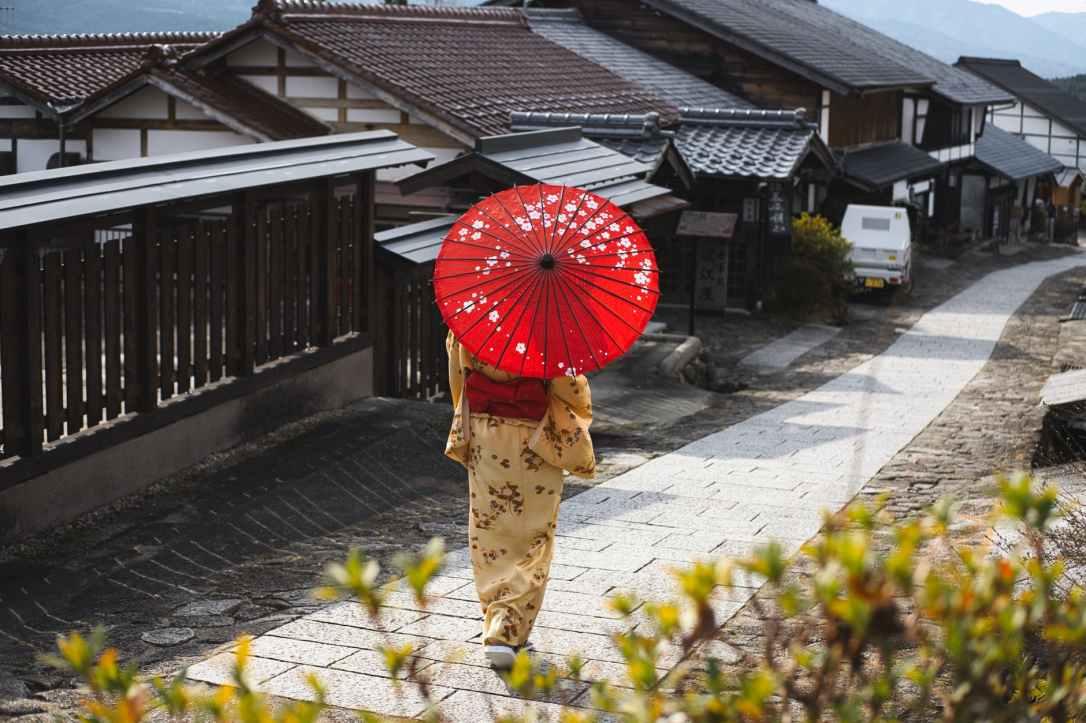 woman wearing a kimono holding umbrella
